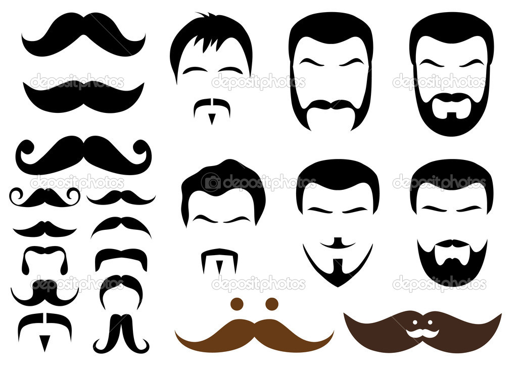 Set of mustache and beard designs, vector — Grafika wektorowa #2657100