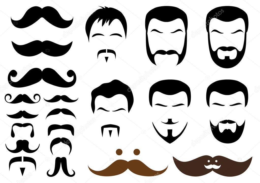 Set of mustache and beard designs, vector  Stockvectorbeeld #2657100
