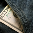 50 dollar bill in pocket of jeans — Stock Photo