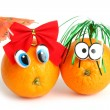 Funny oranges girl and boy with eyes — Stock Photo