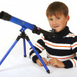 The boy with a telescope — Stock Photo