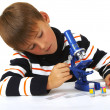 The boy with a microscope — Stock Photo