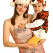 Mother with baby in fancy dresses — Stockfoto