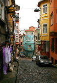 Old cobblestone street in Istanbul — Stock Photo