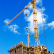 Two cranes on project — Stock Photo
