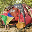 Boy camping — Stock Photo