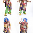 Stock Photo: Four clown gestures