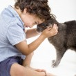 Boy and cat — Stock Photo #1338107