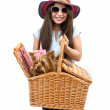 Girl and dog in picnic basket — Stock Photo #1338225