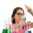Girl in science class — Stock Photo
