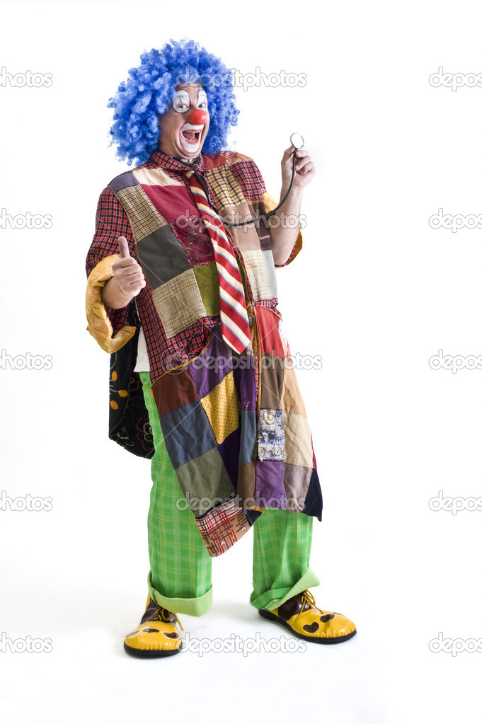 Laughing clown holding a stethoscope isolated on white — Stock Photo #1337601