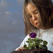 Girl planting — Stock Photo