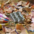 Colored pencils sharpener and shavings - Stock Photo