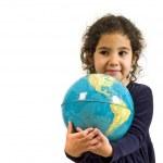 Littel girl holding the globe — Stock Photo #1340879
