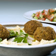 Stock Photo: Hummus falafel and arabic salad