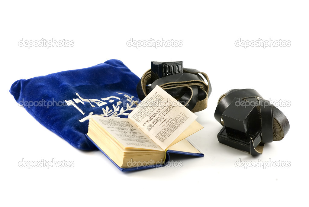 Tefillin - phylacteries worn by Jewish men for morning prayers, Siddur - Jewish prayerbook and bag isolated on white  — Stock Photo #1408468