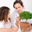 Teacher child plant — Foto de Stock
