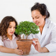 Teacher child plant — Stockfoto