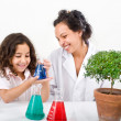 Teacher pupil sience tree - Stock Photo