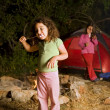Two girls at a camp — Stock Photo #1412458