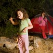 Stock Photo: Two girls at camp