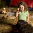Little girl at a camp — Stock Photo #1412482