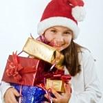 niña con regalos de Navidad — Foto de Stock