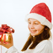 Girl with christmas present — Stock Photo #1412791