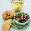 Scones dryfruit and herbal tea — Stock Photo