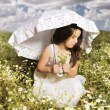 Young girl with parasol — Stock Photo