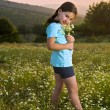 Girl holding flowers in field at sunset — Stock Photo #1413407