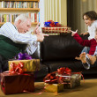 Foto Stock: Grandfather playing