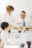 Jewish family celebrating passover — Stock Photo