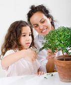 Teacher child plant — Stock Photo