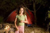 Little girl at a camp — Stock Photo