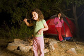 Two girls at a camp — Stock Photo