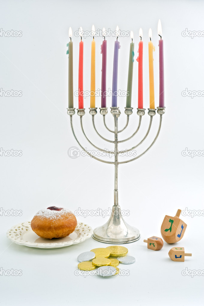 Hanukkah menora, Dreidel, Chocolate Gelt, donuts, over white — Stock Photo #1414809