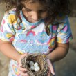 Little girl holding nest with eggs - Stockfoto
