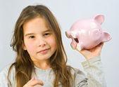 Girl piggy bank — Stock Photo