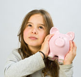 Girl piggy bank — Stock Photo