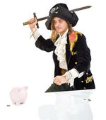 Pirate and piggybank — Stock Photo