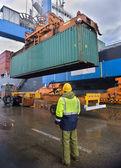 Container uploading — Stock Photo