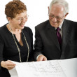 Senior couple and house plans — Stock Photo #2224484