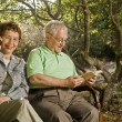 Stock Photo: Seniors on a bench