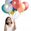 Girl and baloons — Stock Photo