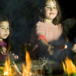 Two girls at a bonfire — Stock Photo #2234830