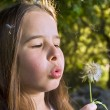 Royalty-Free Stock Photo: Girl blowing a dandelion