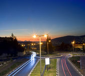 Traffic circle by night — Stock Photo
