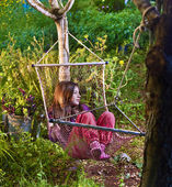 Girl in hammock — Stock Photo