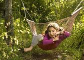 Chica en sueño hamaca — Foto de Stock